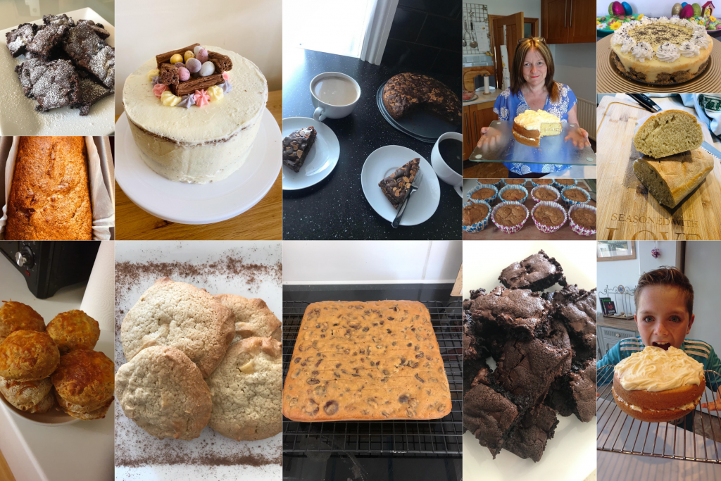Photo collage of Mploy employees baking competition during lockdown